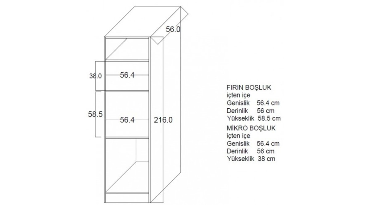 FAMİLY FIRIN MIKRO BOY DOLAP 216 CM