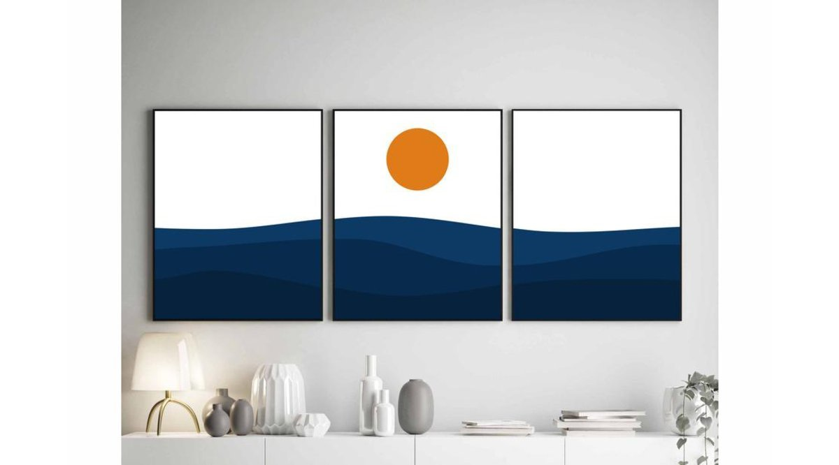SUNSET SEA ÜÇLÜ TABLO SETİ 50X70