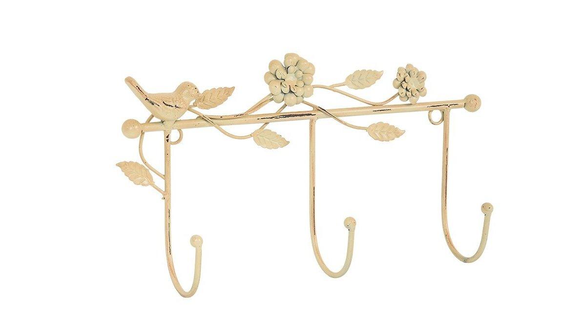 Lam Krem Rengi Kuş çiçek Motifli Metal Duvar Askisi Vivense