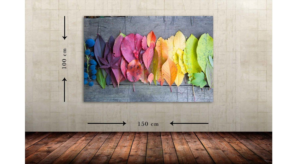 COLORY LEAF DEKORATİF DEV BOYUT CANVAS TABLO 100X150 CM