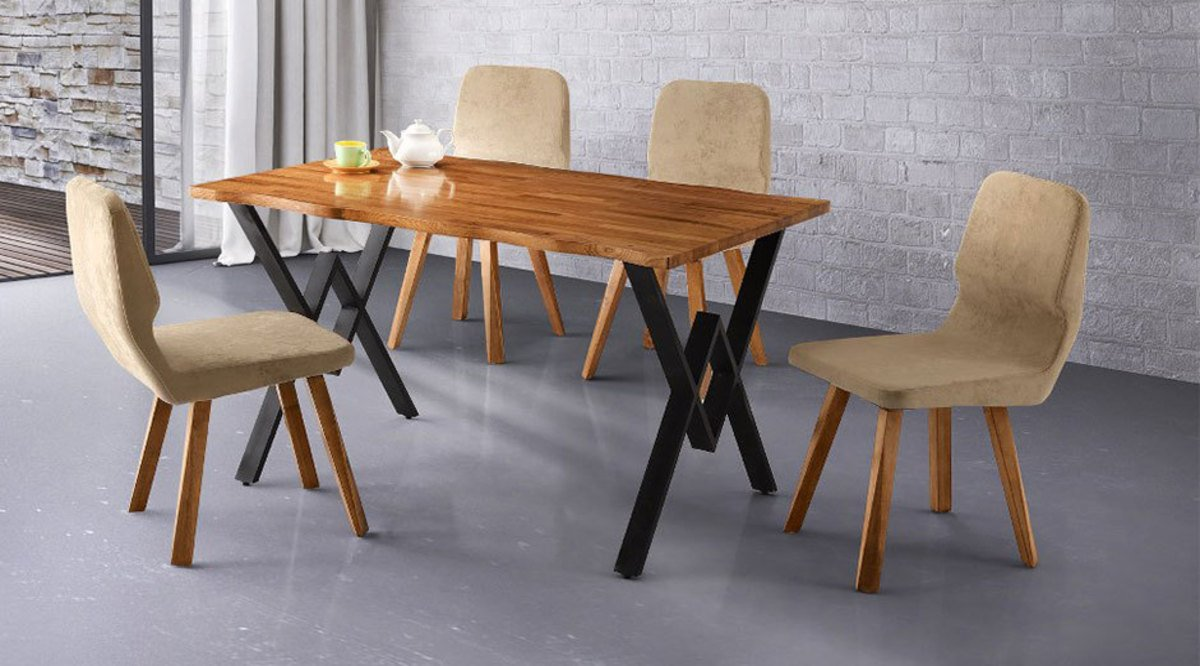 Koyu renkli modern bambu mutfak dolab modeli moda dekorasyonlar - Natura Mutfak Masa Seti