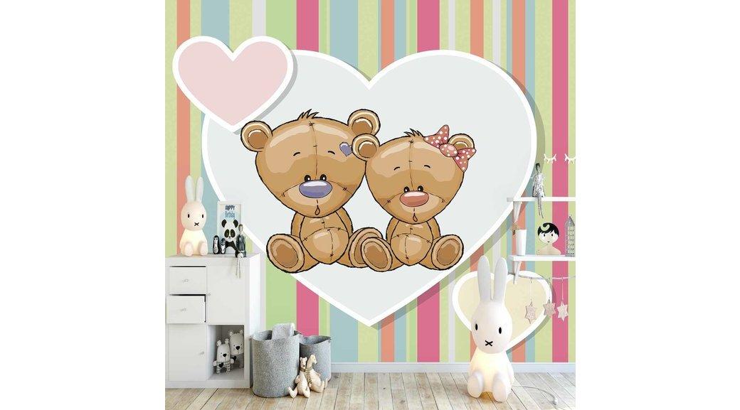 Else Kalpli Ayicik Cocuk Odasi 3d Silinebilir Poster Duvar Kagidi
