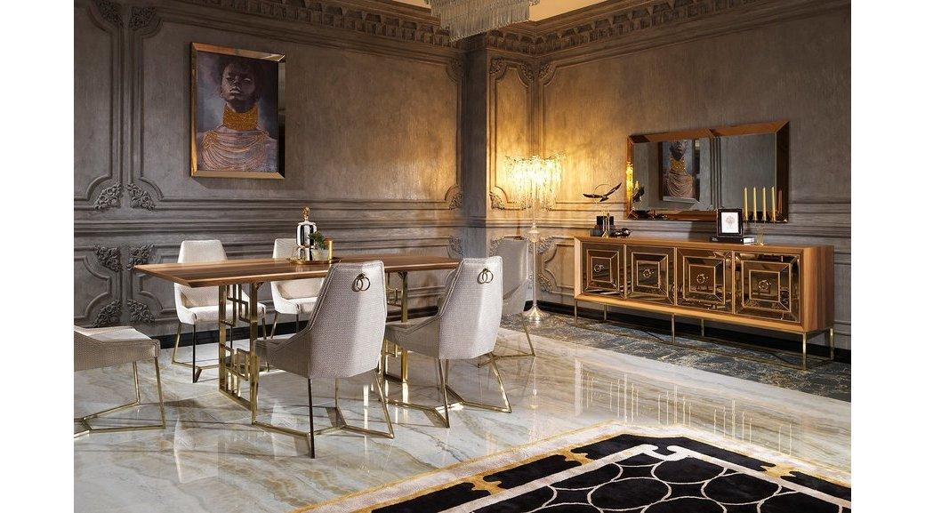 Versace Yemek Odasi Takimi Ceviz Altin
